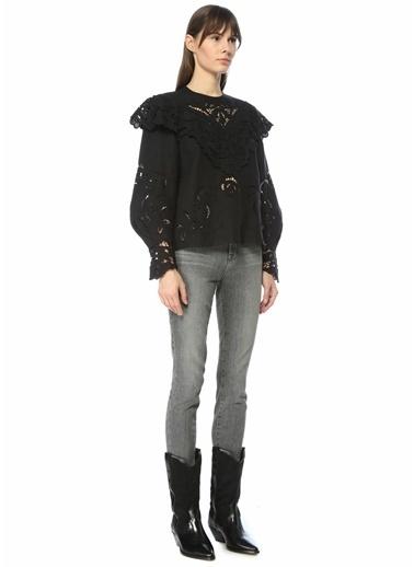 Etoile Isabel Marant Isabel Marant  Dantel İşlemeli Ajurlu Keten Bluz 101550615 Siyah